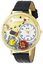 Whimsical Watches Beagle Black Skin Leather and Goldtone Unisex Quartz Watch and