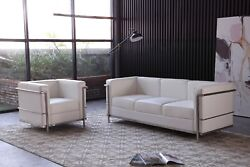 Cour Modern Italian Leather Sofa And Chair Set In White