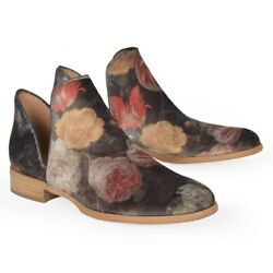Ateliers Womenand039s Size 36 Gray Ankle Boots Floral Print Velvet Zale Bootie 218