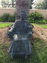 Large Life Size Chinese Bronze Statute Of Man With Cigar
