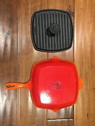 Le Creuset Flame Orange Red Cast Iron Grill Pan Skillet 26 With Panini Press