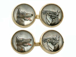 Antique Essex Crystal And 14k Yellow Gold And039dog And Horseand039 Cufflinks Circa 1880