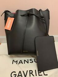 Mansur Gavriel Bucket And Pouch Drawstring Leather Black And Dolly Pivoine Pink Euc