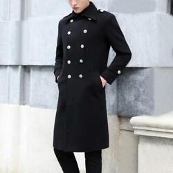 Winter Mens Wool Warm Long Military Jacket Double Breasted Overcoat Trench Coats