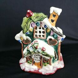 Blue Sky Clayworks Heather Goldminc Holly Berry Cottage Candle Tealight House