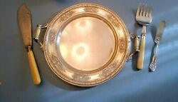 Vintage Wilcox S.p. Co. Silver Plate 13 Bakelite Handled Tray And Utensils