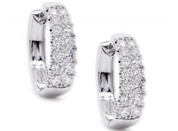 2.03ct Natural Diamond G-h Beautiful Two Row Hoop Earring 14kt White Gold Si1