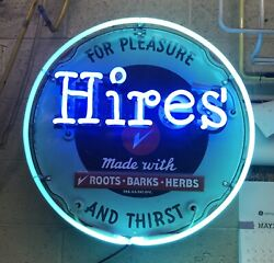 """New Hires Soda Neon Sign In Steel Can American Made Root Beer Drink Bar """"clock"""""""