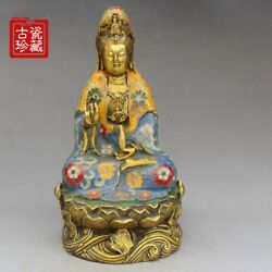 9 Chinese Old Antique Xuande Mark Bronze Cloisonne Guanyin Buddha Statue