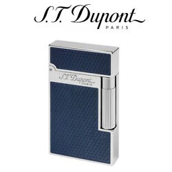 New St Dupont Ligne 2 Guilloche Blue Lacquer Soft Flame Lighter - 016252