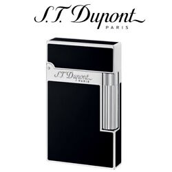New St Dupont Ligne 2 Black Lacquer And Palladium Soft Flame Lighter - 016296