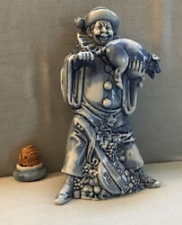 Antique Blue And White Schafer And Vater Shafer Clown And Happy Pig Figural Bottle