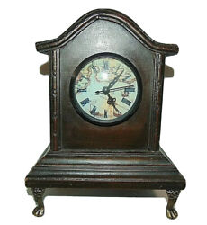 Wooden Shelf/mantel Clock Claw Feet Roman Numeral And Map Face With Door Tianguan