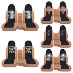 Fits Ford Ranger1991-2012/truck Car Seat Covers 60-40 Tan/blk Wolves/skull