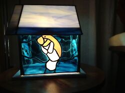 Stained Glass Handcrafted Dolphins And Manatee Night Light Or Table Desk Lamp.