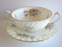 Minton Marlow Footed Cream Soup Bowl And Saucer 2 Handles Globe Backstamp Flowers