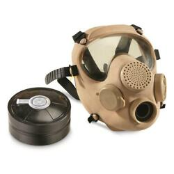 Authentic Military Surplus Mp5 Tan Gas Mask With Bag And Filter-size 4