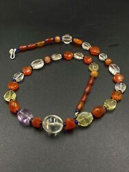Ancient Amethyst Crystals Carnelian And Citrine Old Beads Indo Bactrian Times