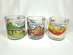 Garfield And Friends Odie 1978 Vintage Mcdonalds Glass Mug Coffee Cup Set Of 3