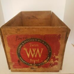 Wooden Fruit Crate Front Paper Label Twin Ww Brand 19x12x11 Vintage