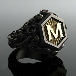 Men#x27;s Fashion Bohemian Black M Letter Stainless Steel Ring Jewelry Size 6 10