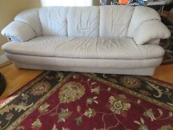 Natuzzi Sofa And Love Seat Italian Grey Leather Preowned Needs Tlc Local Pick Up