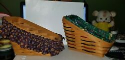 2 Longaberger Sleigh / Vegetable Baskets 1995 And 1997 Holiday Brown, Red And Green