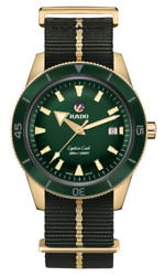 Rado Captain Cook Automatic Bronze Green Dial Nato Band Menand039s Watch R32504317