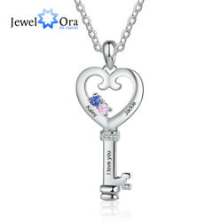 Personalized Women Necklaces Birthstones Engraved Names Key Pendant Jewelry Gift $10.99