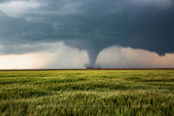 Storm Photography Print - Picture Of Tornado Passing Behind Farmhouse In Kansas