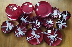 New Akcam Turkish Red Sparkle Service For 8 + Serving Dishes Christmas 39pc Set