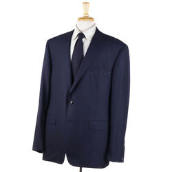 Oxxford Highest Quality And039greenwichand039 Navy Blue Subtle Check Wool Suit 52l Long