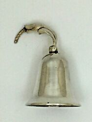 Antique Sterling Dinner Bell Mexico 925 3 1/4 Inches High With Floral Handle