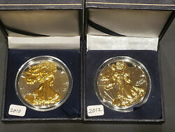 2010 And 2012 1oz Silver .999 American Eagle Dollars Gold Gilded Proof Like