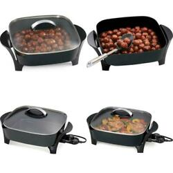 Electric Nonstick Grill Skillets Tempered Glass Cover Home Kitchen Cookware 12