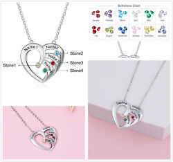 Personalized Women Necklace Heart Pendant Engrave Name Birthstone Christmas Gift $10.99