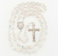 Double Capped Crystal Beads Sterling Silver Rosary Baroque Crucifix