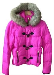 Juicy Couture Pink Cerise Puffer Coat Zip Closure Fur Hooded Xs S L Nwt New
