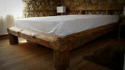 Old Timber Beam Bed 160 X 200 Cm Hand Chopped