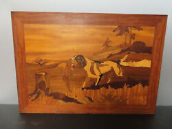 Antique Marquetry Wood Inlay Picture Of Dogs 23 1/2 X 16 1/2