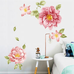 3D Peony Flower Wall Stickers Art Mural Home Bedroom Living Room Wall Decal US