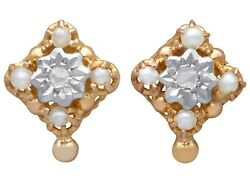 Antique 0.06 Ct Diamond And Seed Pearl, 18k Yellow Gold Stud Earrings