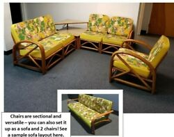 Spectacular Bamboo Rattan Yellow And Green Floral Patio Sofa Two Chairs And Table