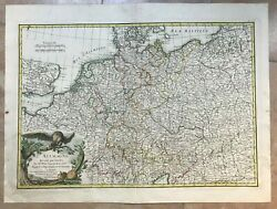 Germany 1760 Rizzi Zannoni 18e Century Old Colors Large Antique Engraved Map