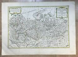 Russia 1762 Jean Janvier Large Antique Engraved Map Old Colors