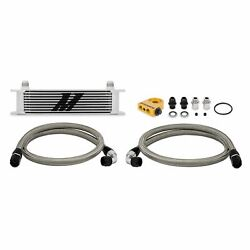 Mishimoto Silver Thermostatic Universal Fit 10-row Engine Oil Cooler Kit Mmoc-ut
