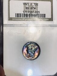 1945-d Mercury Dime Ngc Ms-67 ✪ Star Wild Bright Red And Green Toning Looks Fb