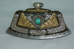 Antique And Original Tibetan Flint In Leather And Silver Inset With Turquoise Tibet