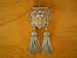 Rare Antique Victorian 14k-18k Gold Pin Brooch / Necklace Pendant With Tassels