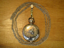 Antique 1897 Elgin Watch Co. Ladies 14k Gold Filled Pocket Watch And Chain